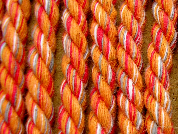 Coral  Striped Cord | Striped Rope Coral Melange Stripes