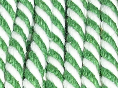 Green  Striped Cord | Green and White Striped Rope