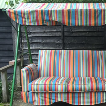 Water Repellent Fabric used to recover a Garden Swing Seat