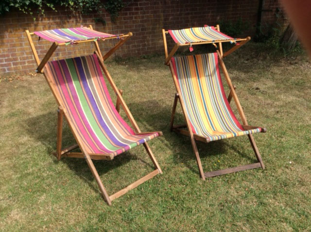 Recovered vintage Deckchairs in Stripesco Canvas