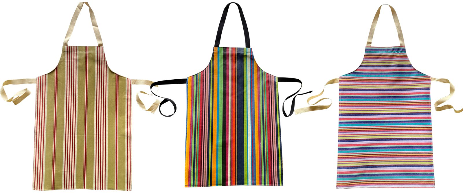 Cream Striped PVC Kids Aprons | Oilcloth Aprons for Children Cream  Green  Turquoise  Stripes