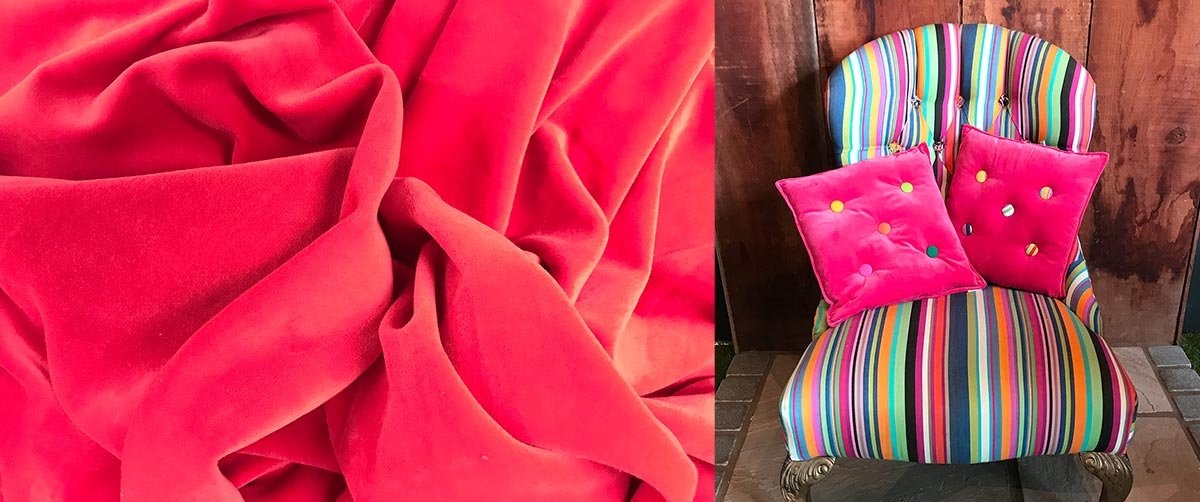 Coral Red Velvet Cushions and Home Accessories