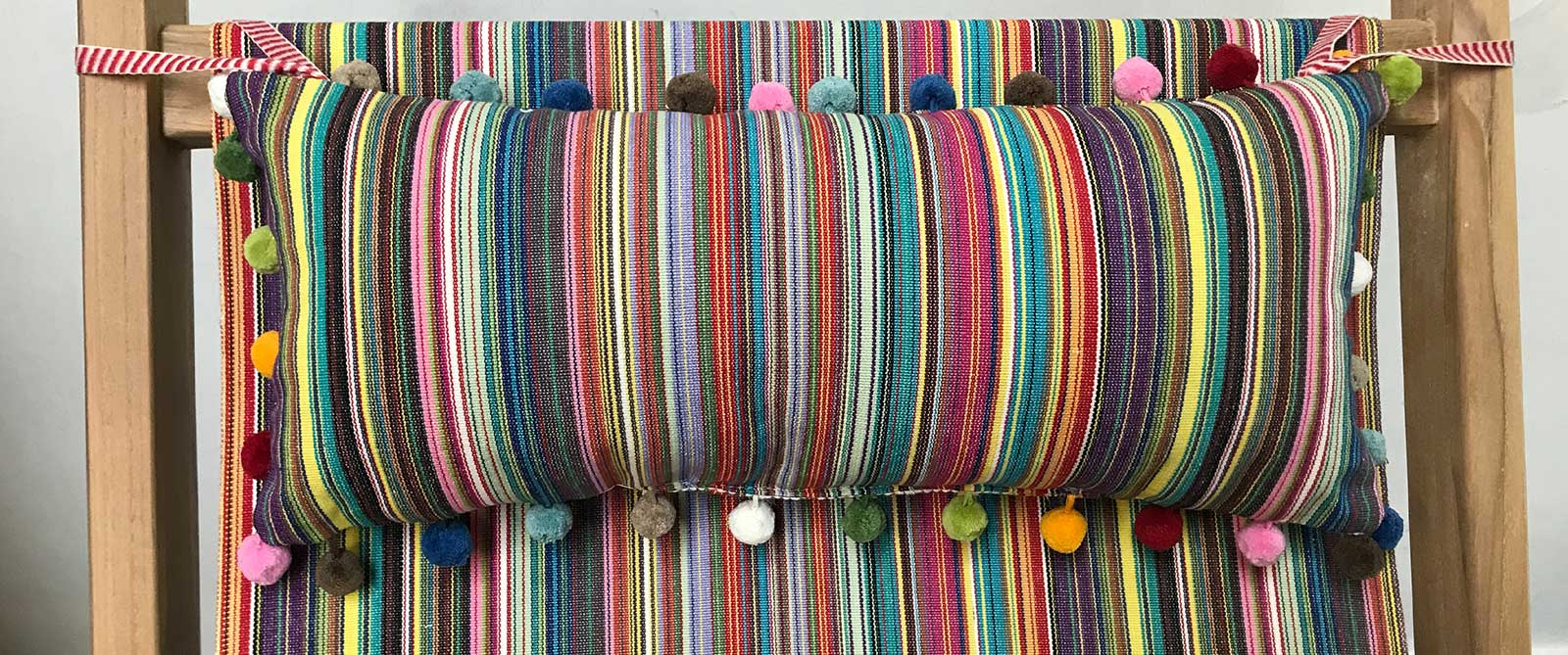 Deckchair Headrest Cushions | Tie on Pompom Headrest Pillow