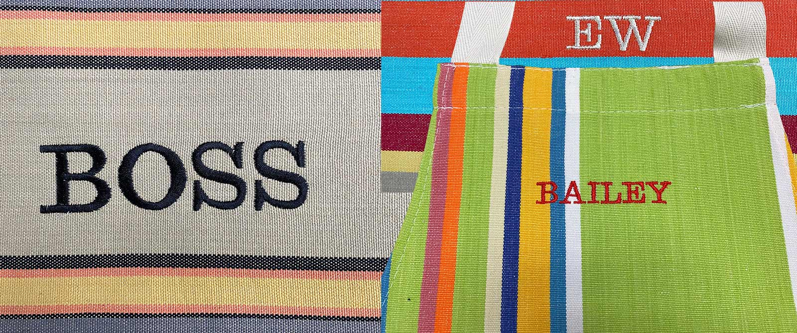 Personalise Your Stripes Company Products Silk Embroidered Initials