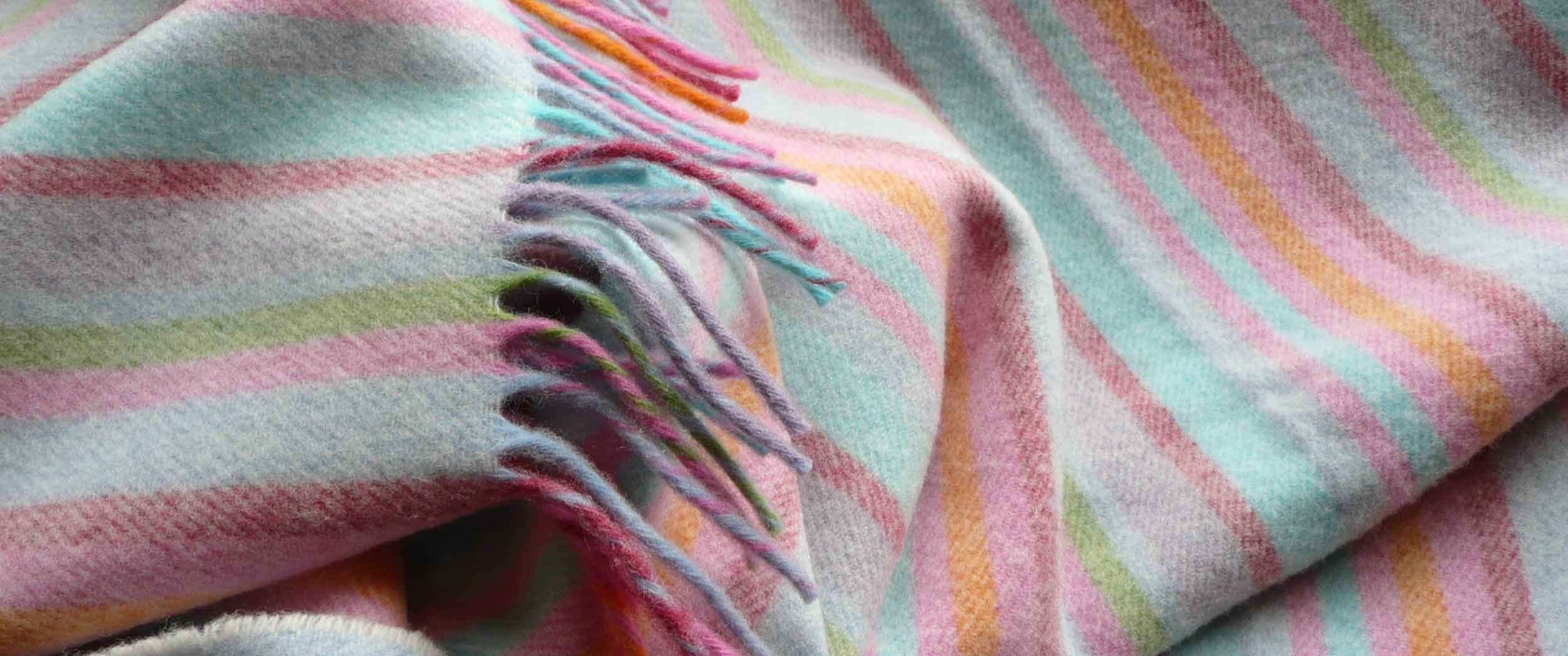 Pink Striped Lambswool Throws