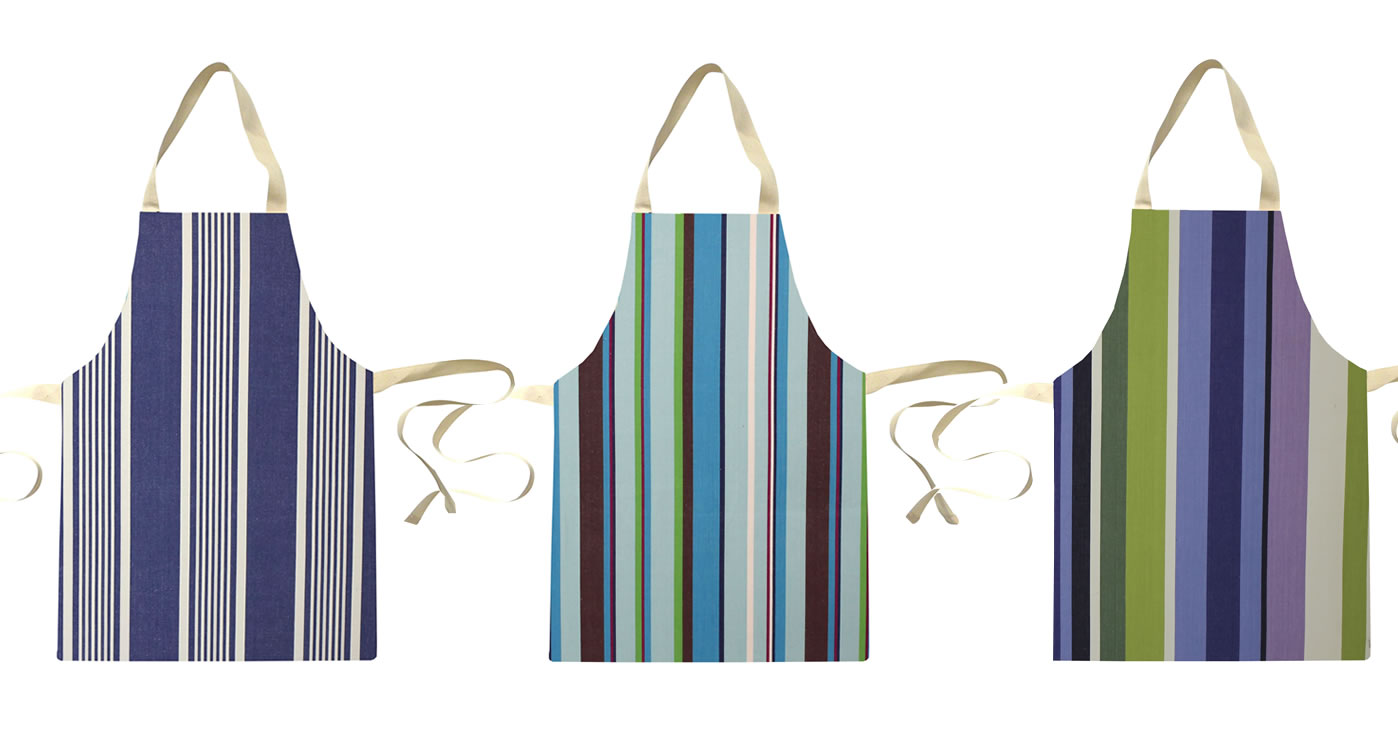 Cream Water Resistant Aprons for Toddlers | Small Childs Striped Aprons Cream  Brown  Terracotta  Green  Stripes