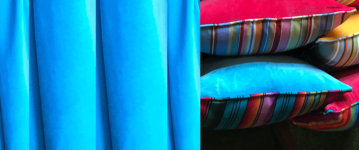Turquoise Velvet Home Furnishings with Stripes