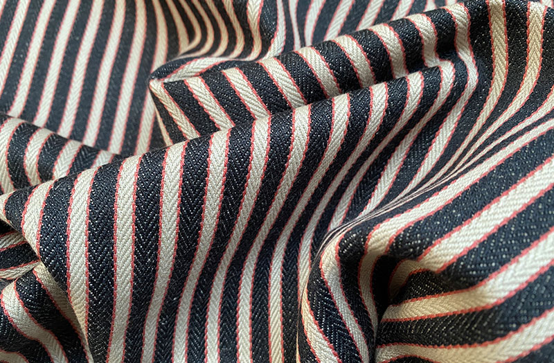 Traditional Ticking Fabric - Black, Beige and Salmon Pink Narrow Stripe