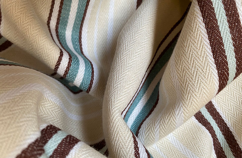 Buttermilk, Brown and Aqua Stripe Ticking Fabric