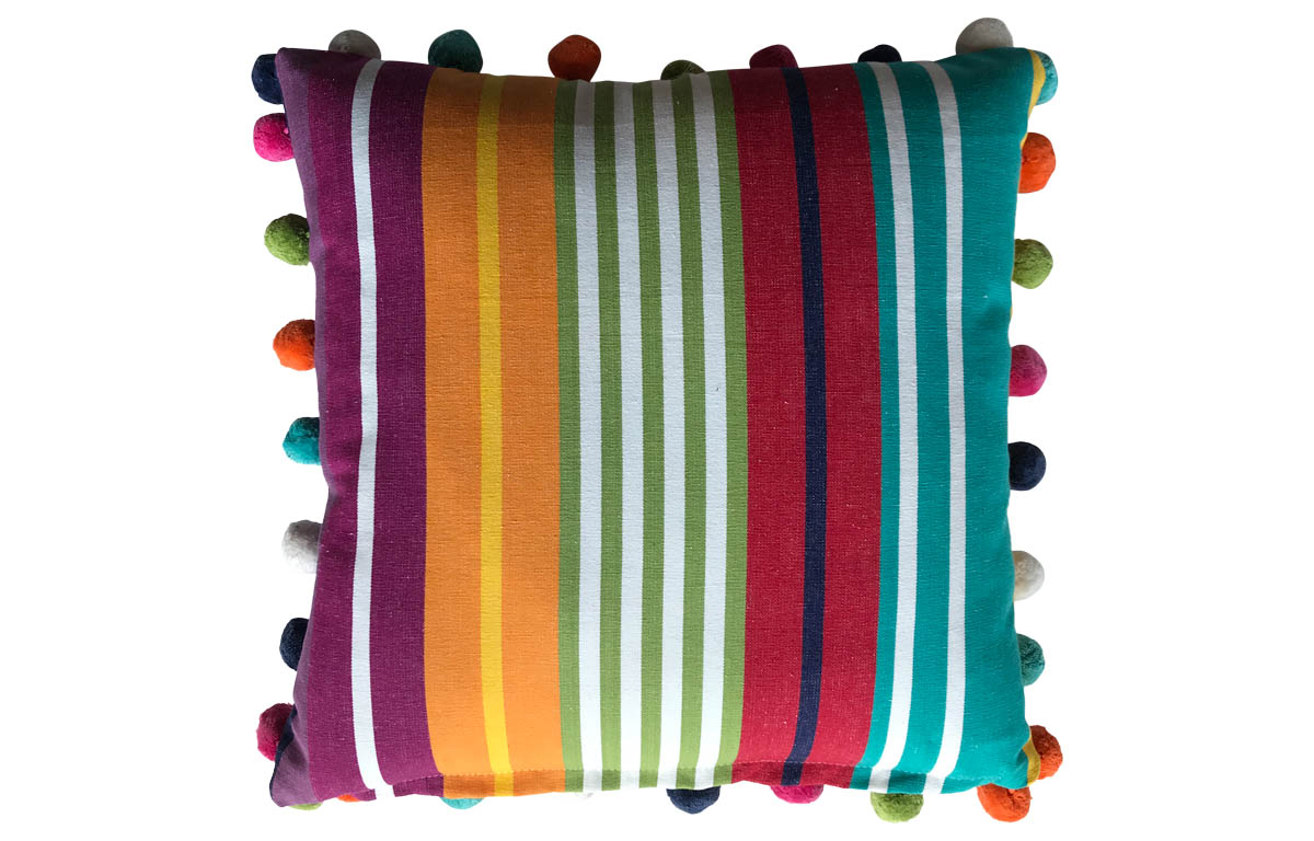 Turquoise, Green, Red Striped Pompom Cushions 50x50cm