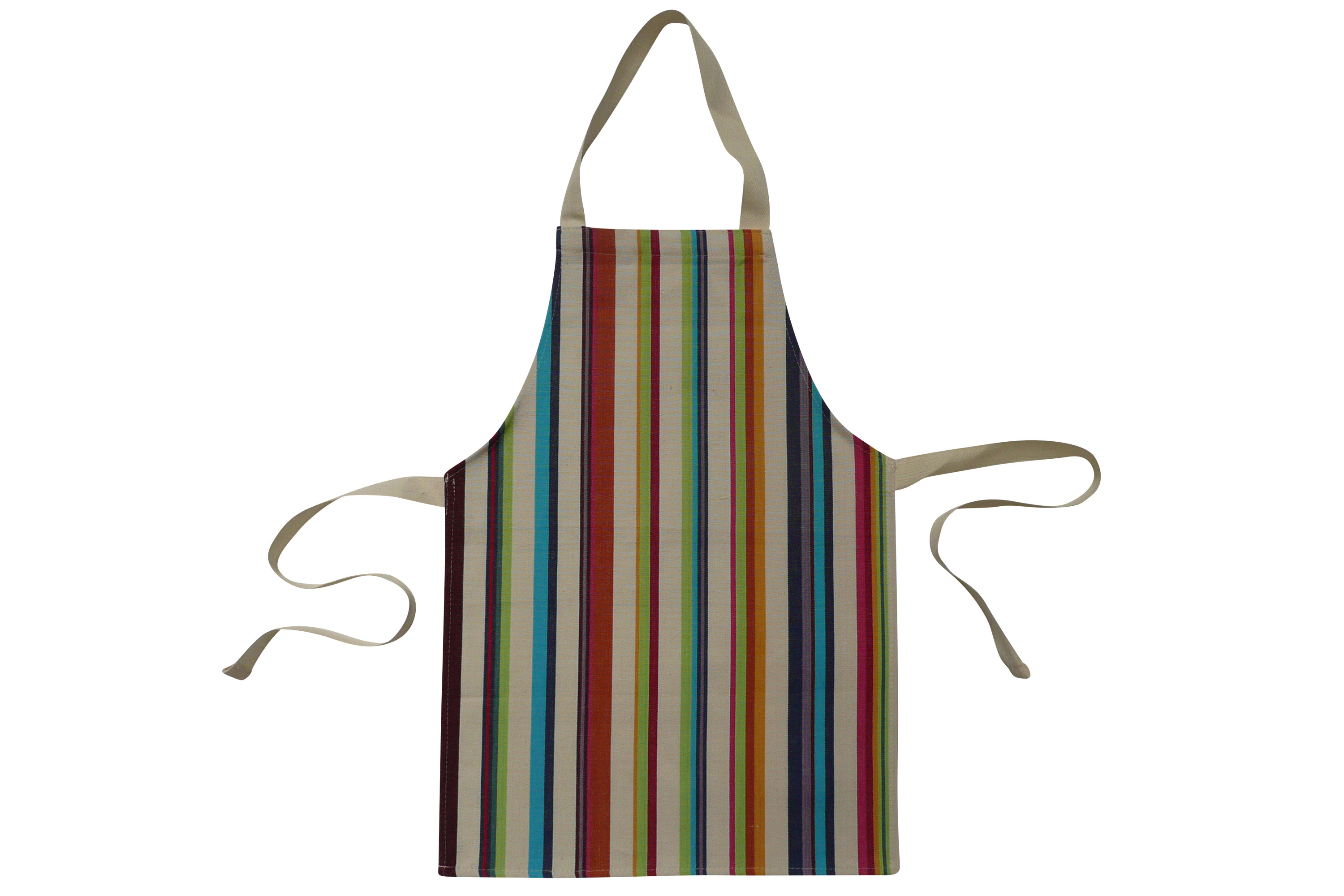 Cream Toddlers Aprons - Striped Aprons For Small Children Cream  Brown  Terracotta  Green  Stripes
