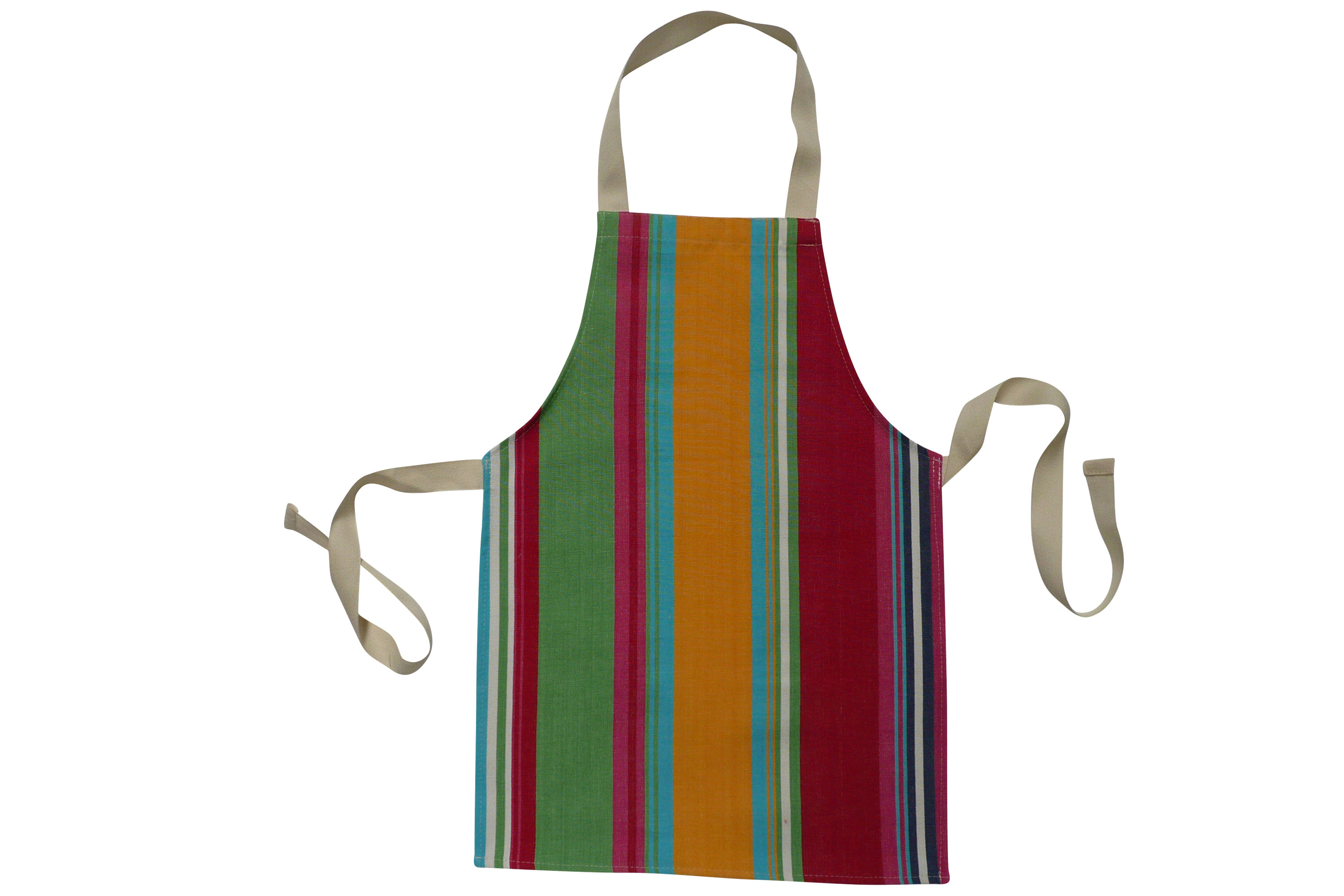 Pink Toddlers Aprons - Striped Aprons For Small Children Pink  Green  Yellow  Stripes