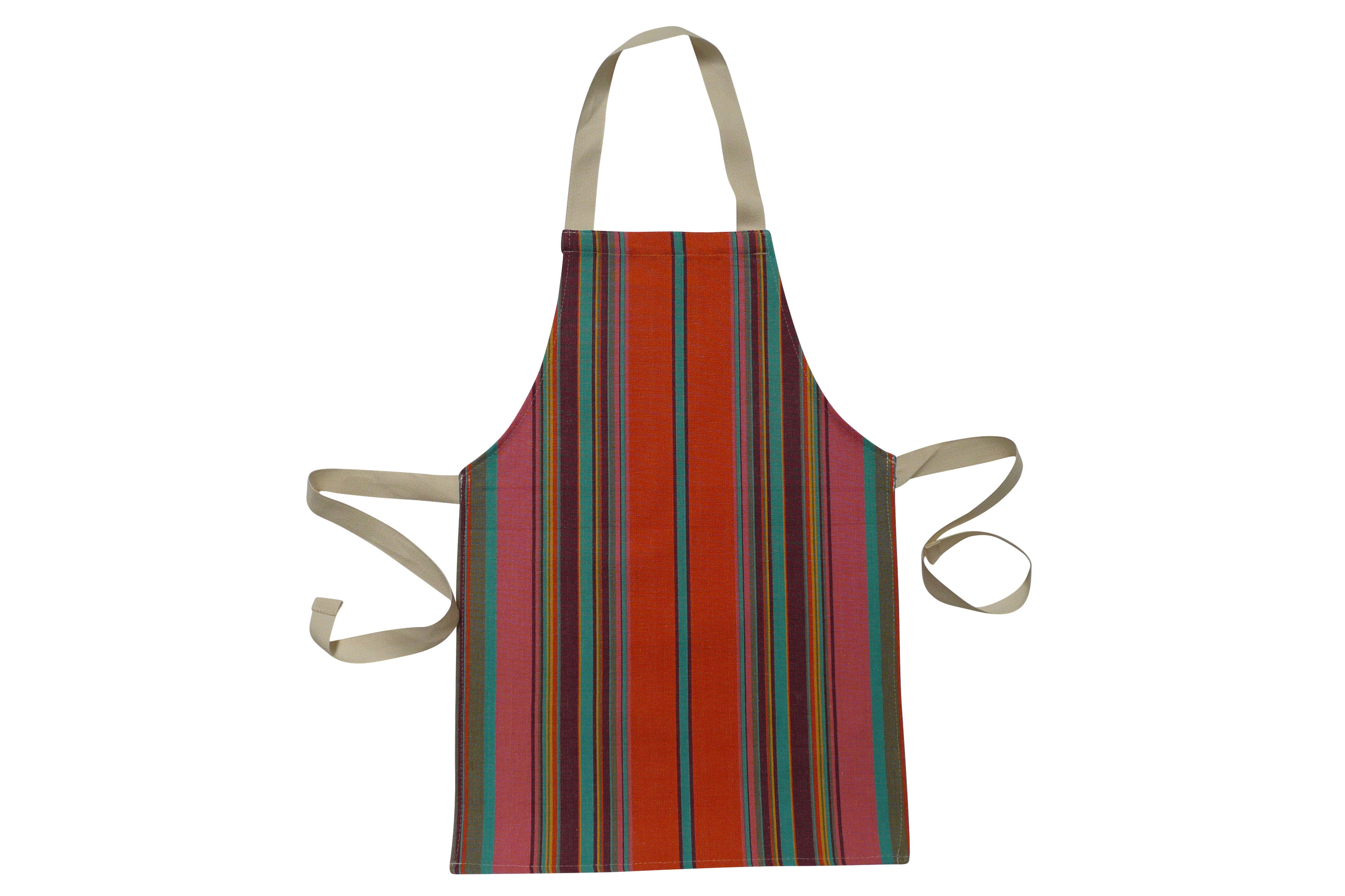 Toddlers Aprons - Striped Aprons For Small Childrencoral, bright green, terracotta