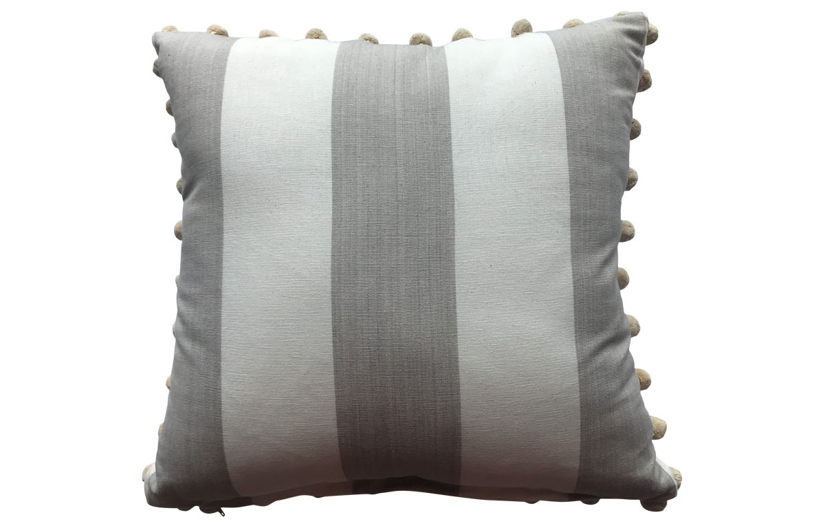 Light Beige and off White Striped Pompom Cushion 50x50cm