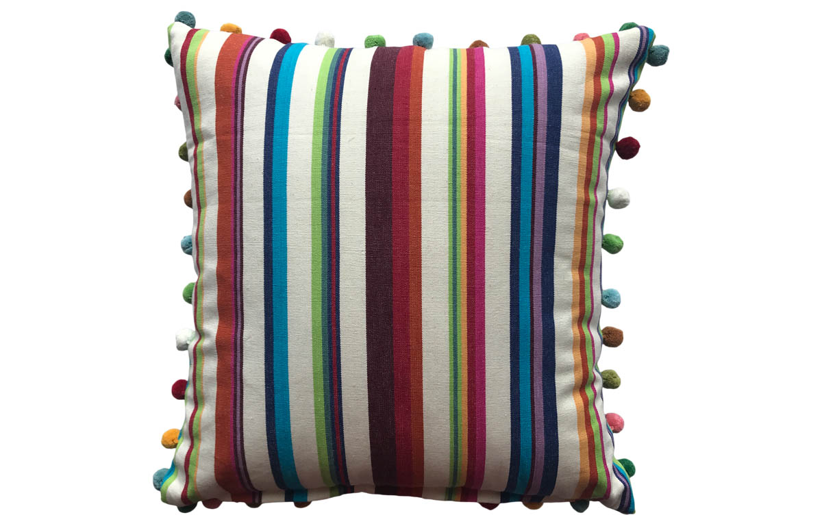 Cream, Brown, Terracotta, Green Stripe Pompom Cushion 50x50cm