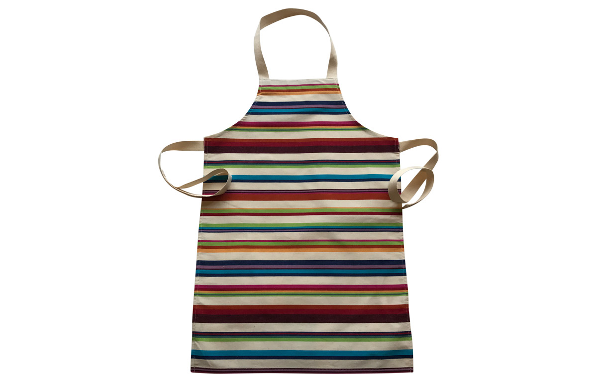 Cream Striped Kids Aprons | Aprons for Children Cream Brown Terracotta Green Stripes