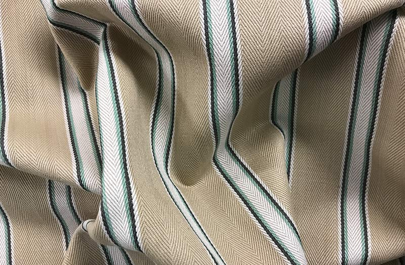 Beige and Blue Stripe Ticking Fabric