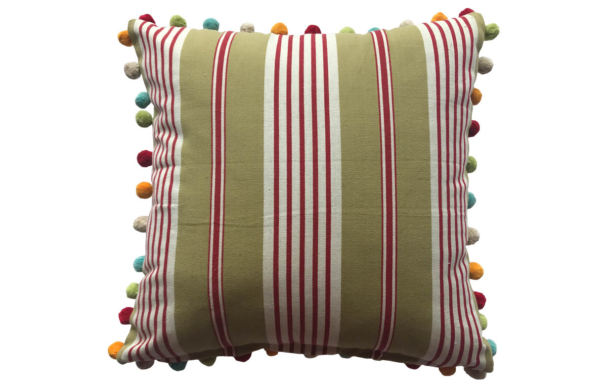 Olive Green, Red and White Striped Pompom Cushions 50x50cm