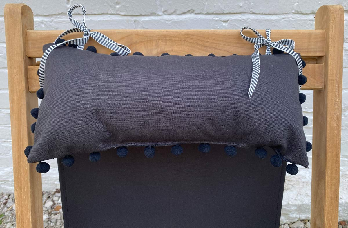 Black Deckchair Headrest Cushions | Black Tie on Pompom Headrest Pillow