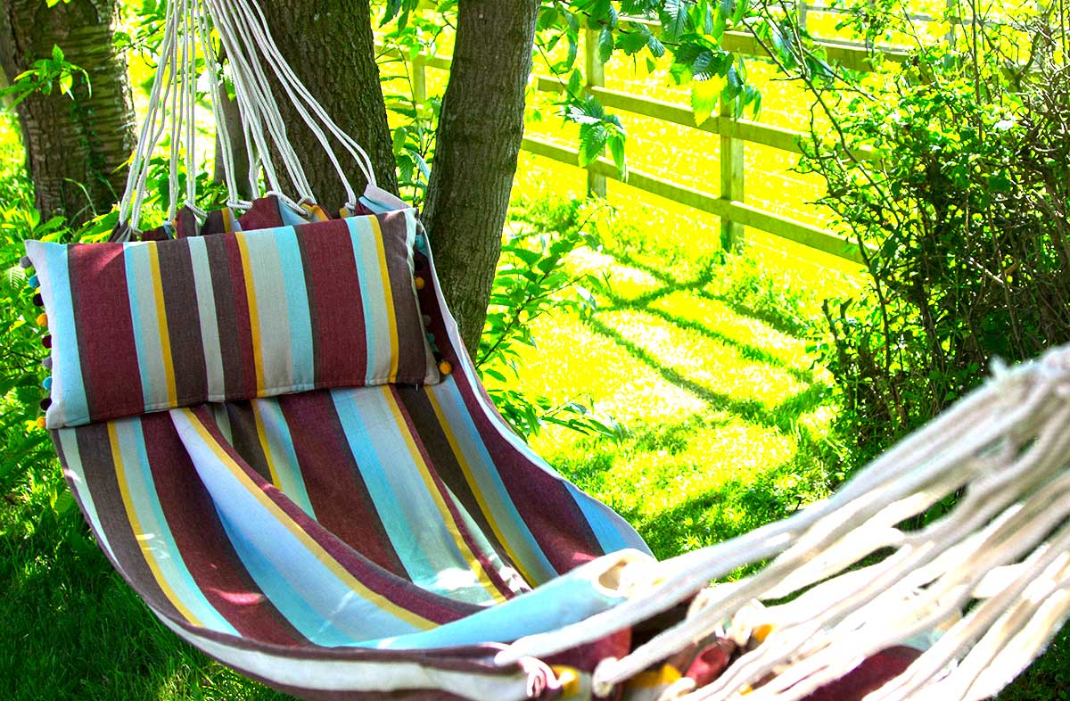 Striped Hammock Earth tones with duck egg blue stripes