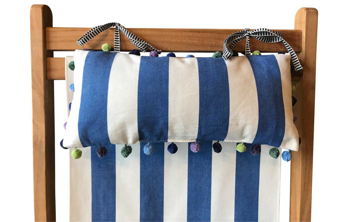 Blue and White Stripe Deckchair Headrests | Tie on Pompom Headrest Pillow blue, white
