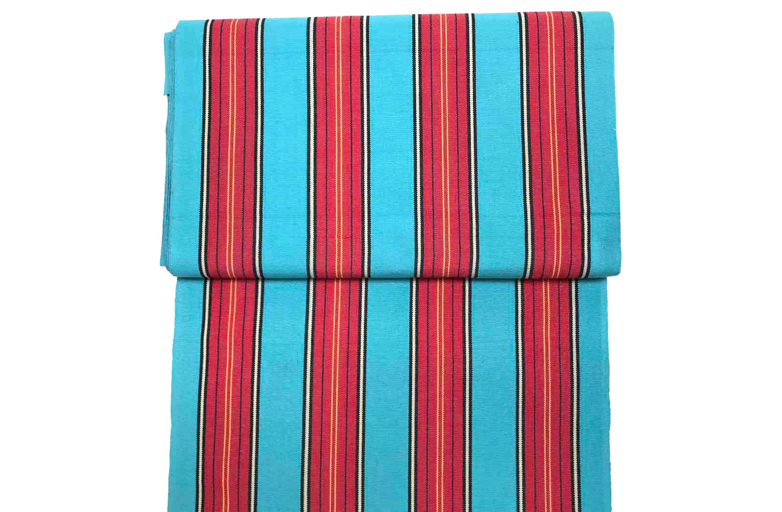 Light blue and red stripe deckchair fabric