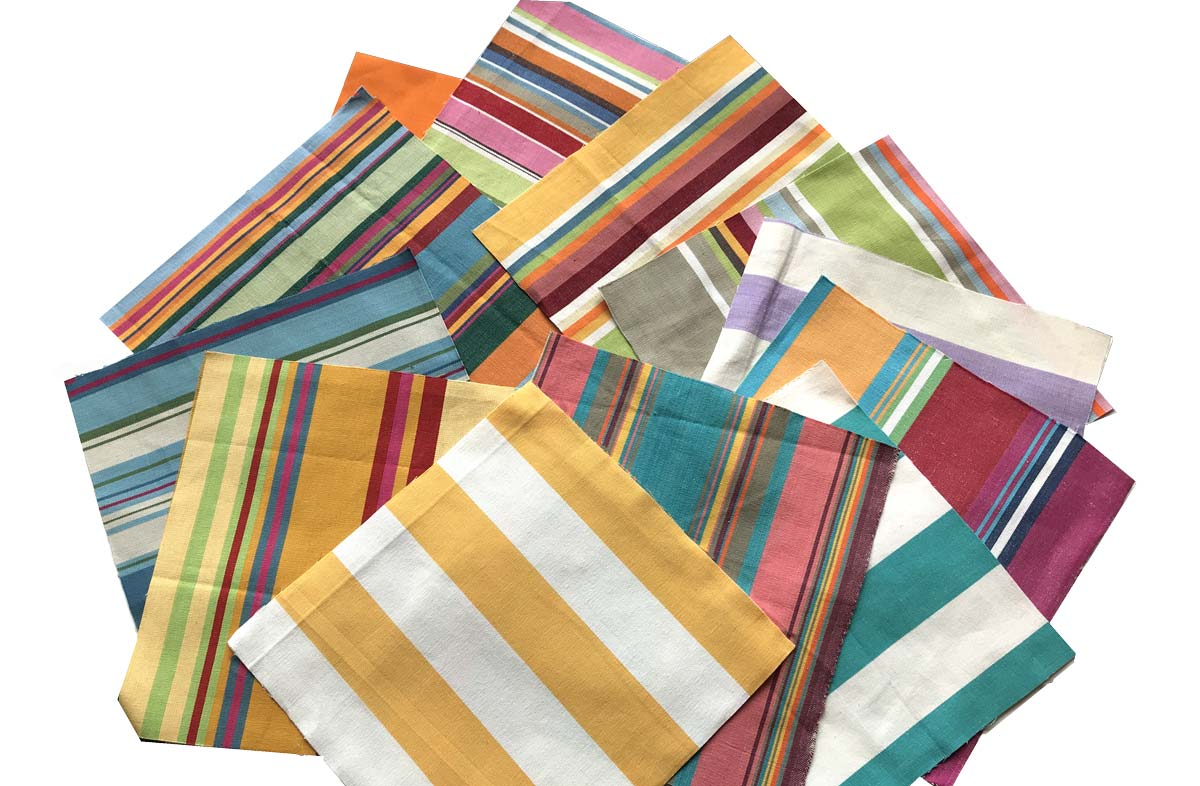 Bright Stripe and Classic Stripe Cotton Fabric Squares for Patchwork Quilting Fabric Squares
