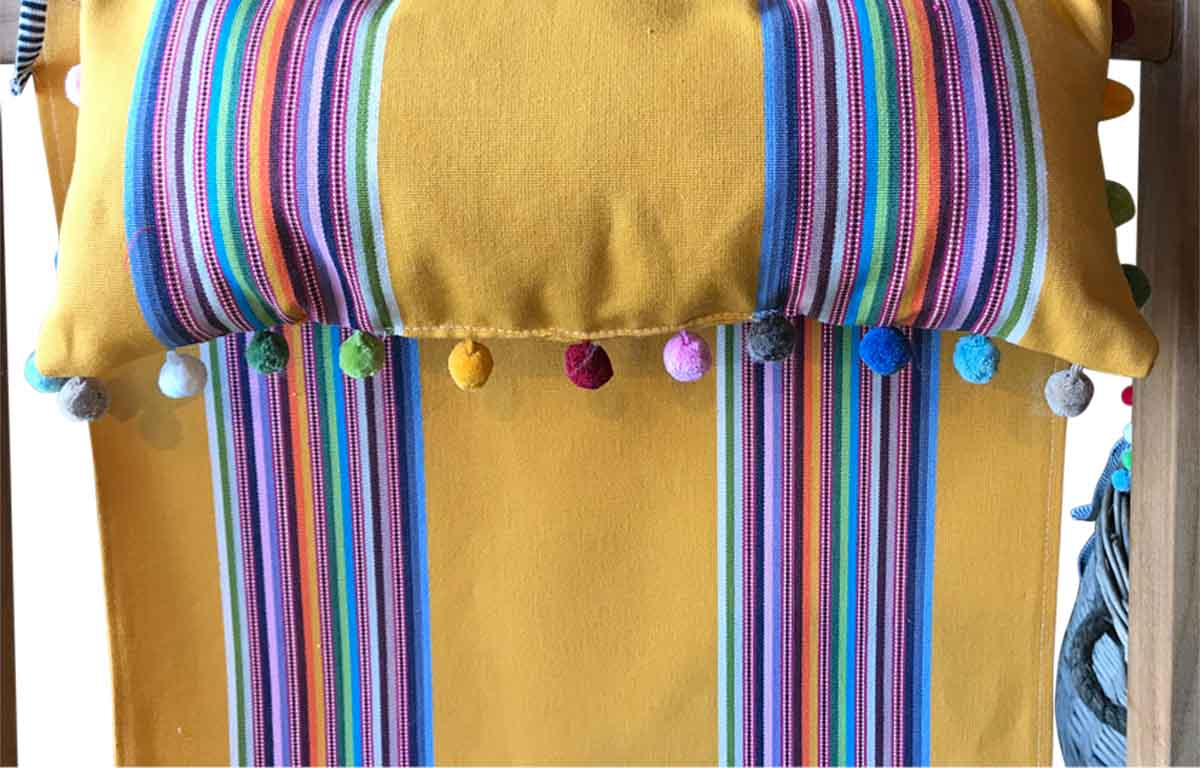 Deckchair Headrest Cushions | Tie on Pompom Headrest Pillows Pillows yellow, rainbow