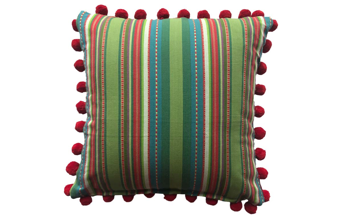 Pretty Green Striped Pompom Cushion 50x50cm
