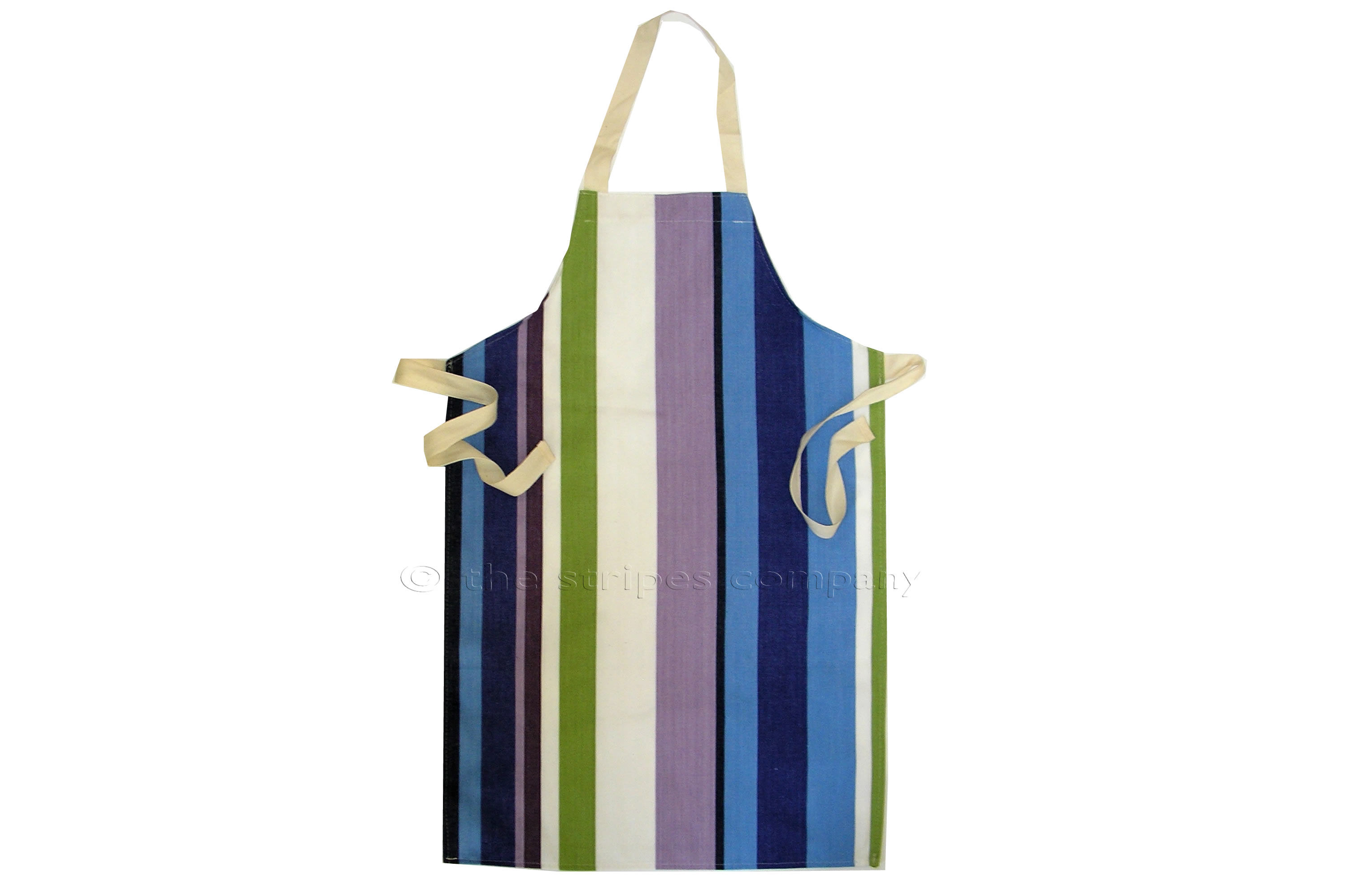Green Striped Kids Aprons | Childs Aprons Green  Blue  Purple  Stripes