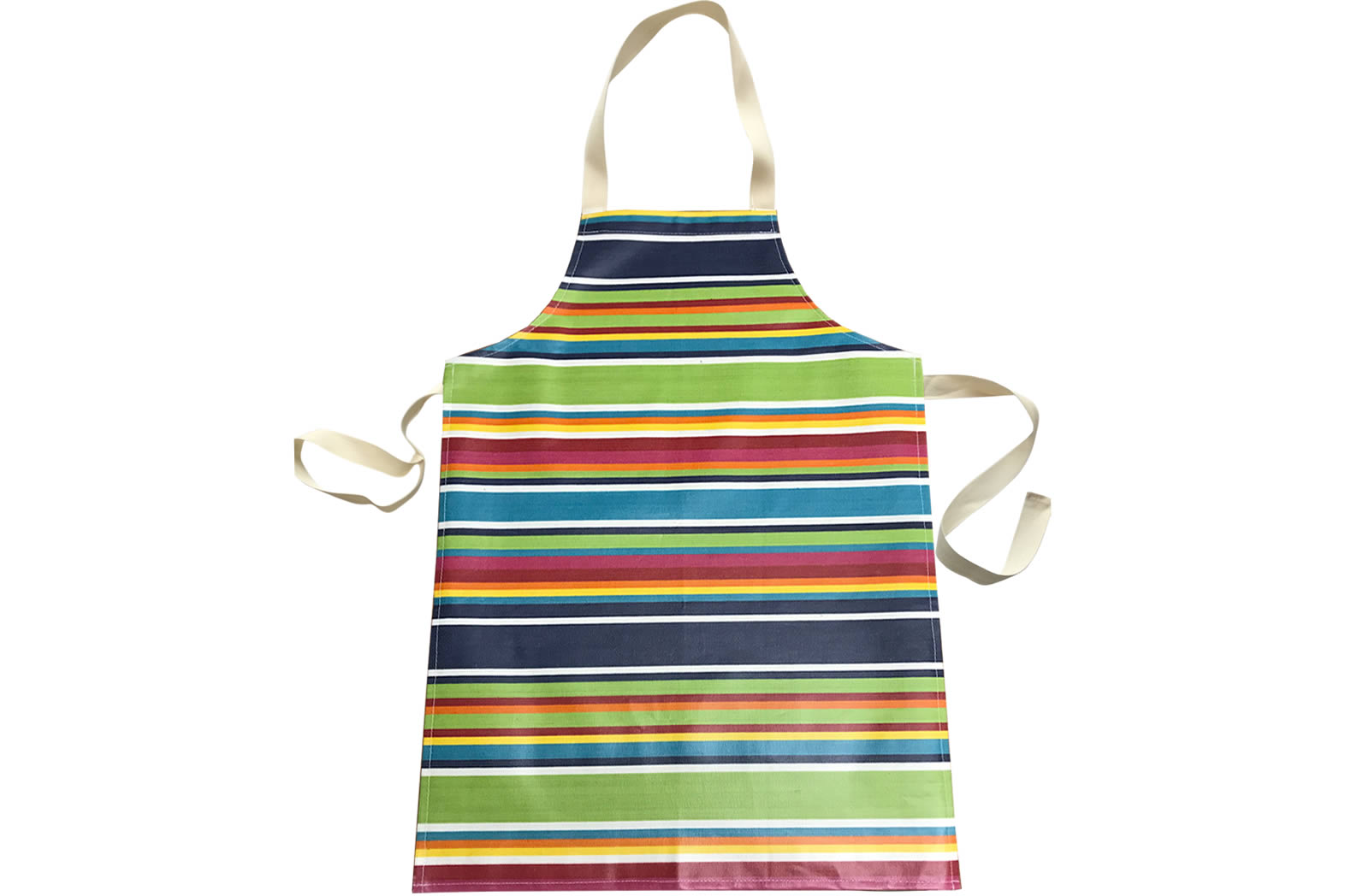 Blue Striped PVC Kids Aprons | Oilcloth Aprons for Children Blue  Green  Red  Stripes