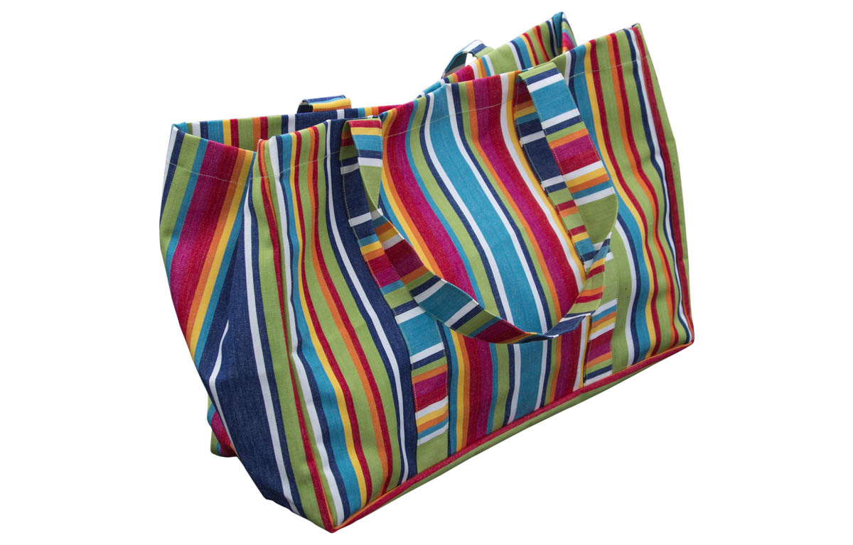 Large Striped Beach Bags blue, green, red