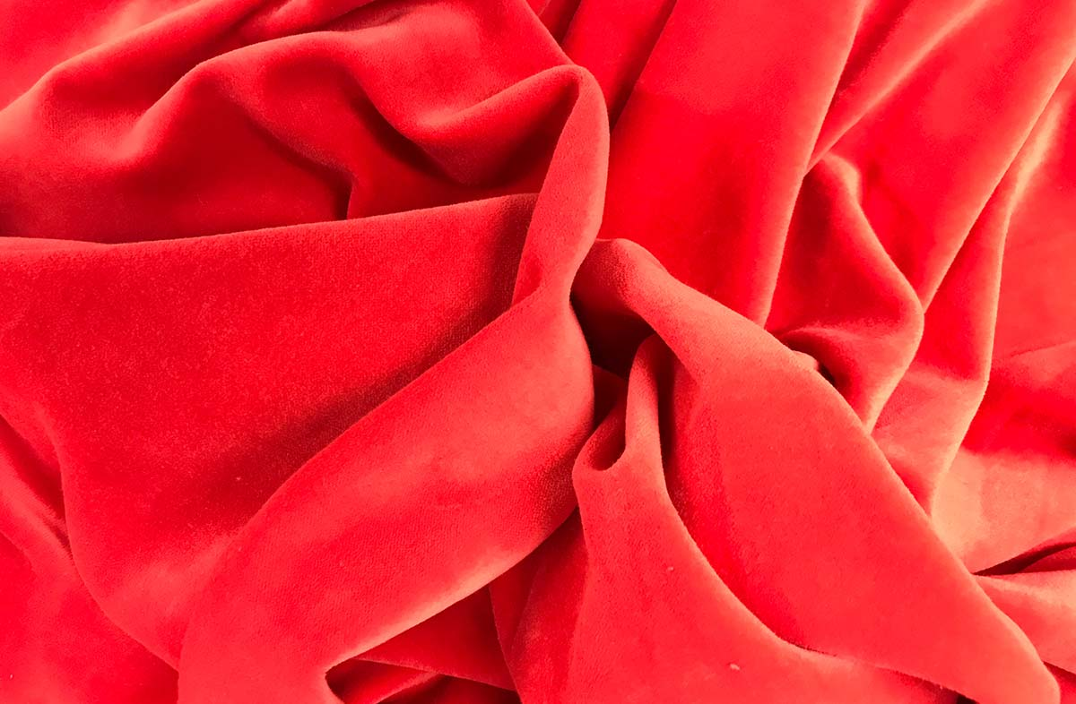 Coral Red Cotton Velvet Fabric | The Stripes Company