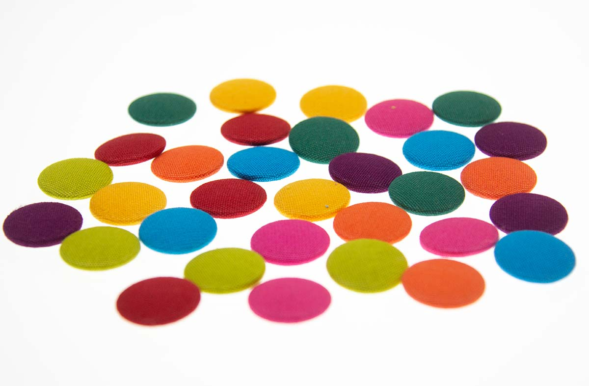 Covered Buttons in Bright Colours