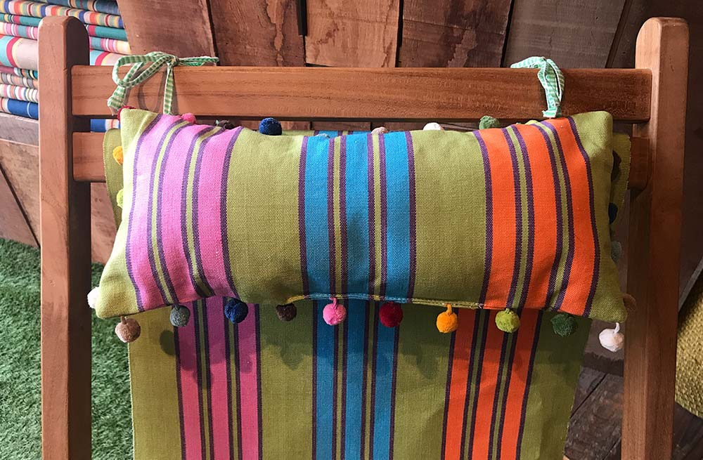 Green, Turquoise, Pink Stripe Deckchair Headrest Cushion