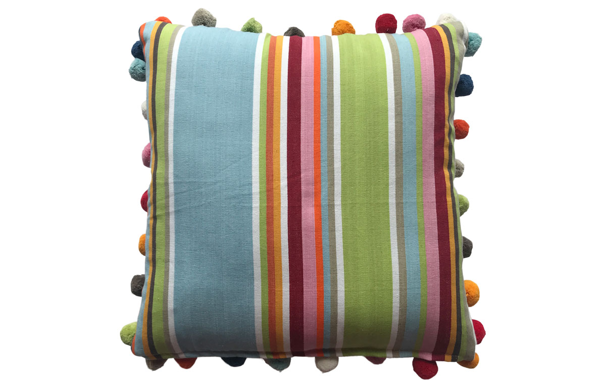 Duck Egg Blue, Beige, Light Green Stripe Pompom Cushion 50x50cm