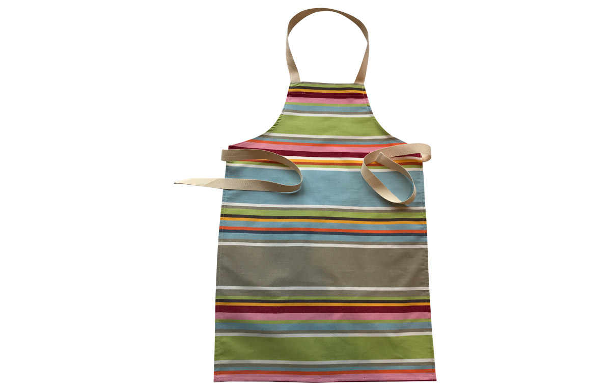 Duck Egg Blue Striped Kids Aprons | Aprons for Children Duck Egg Blue  Beige  Light Green  Stripes