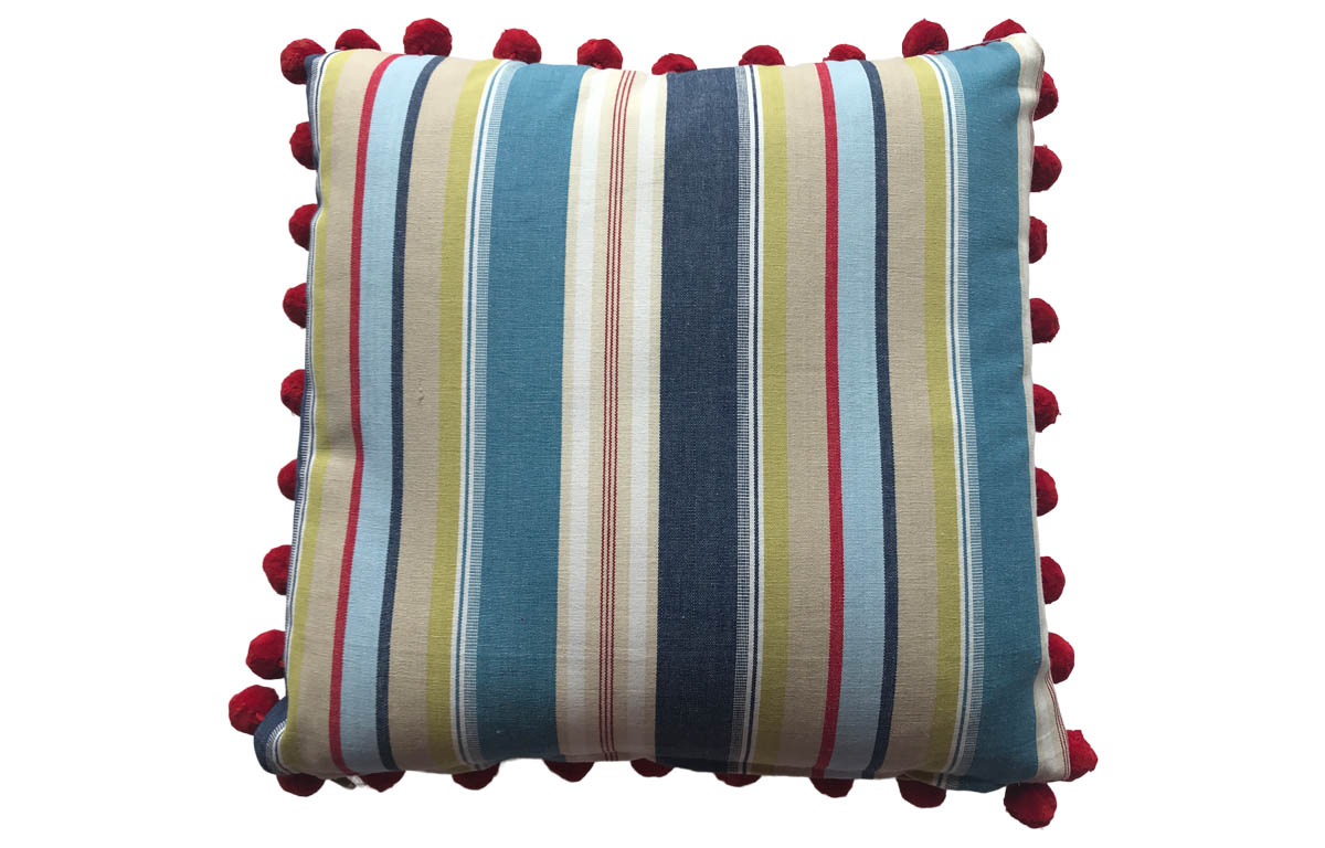 Airforce Blue, Cream and White Striped Pompom Cushions 50x50cm