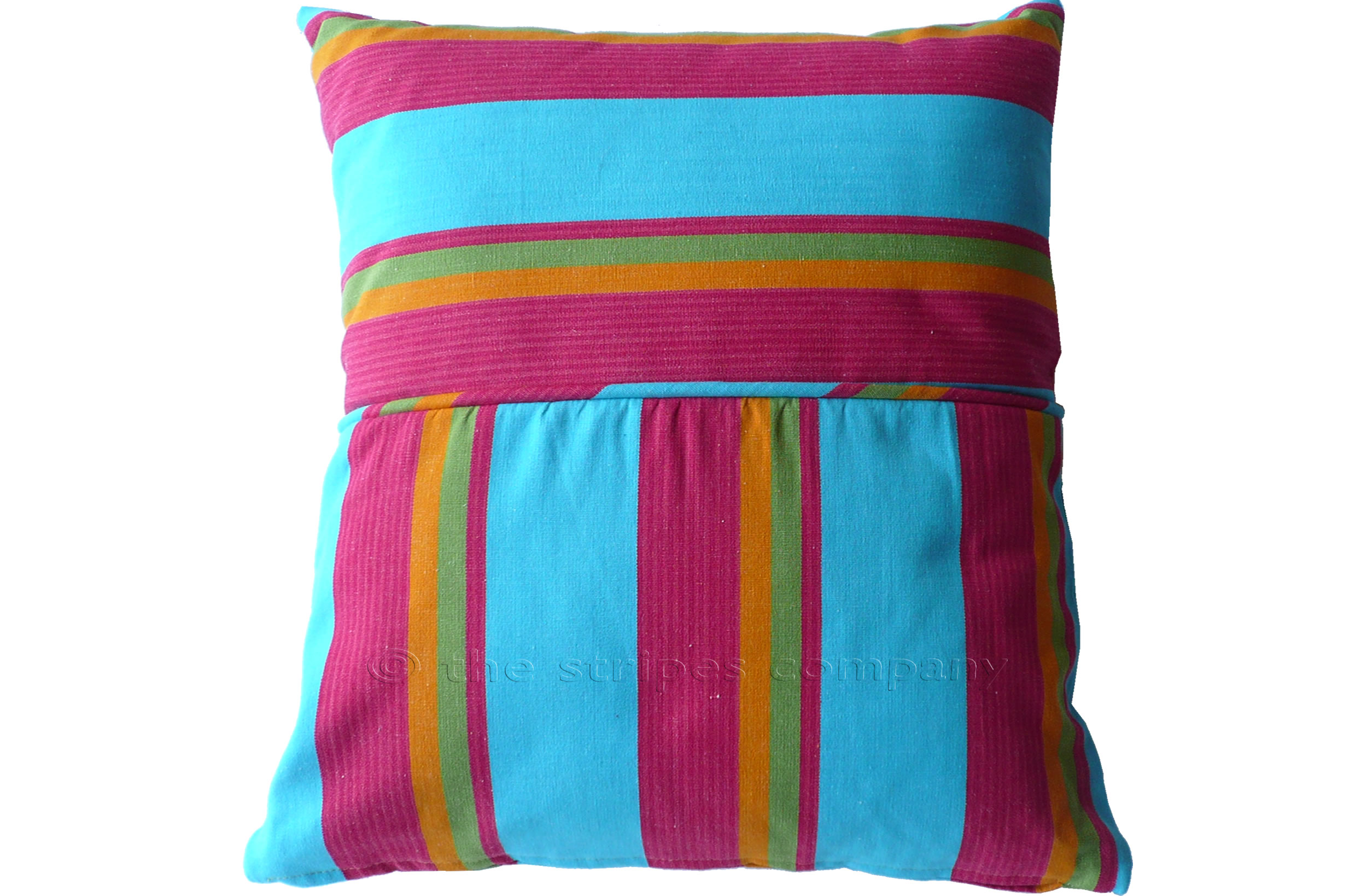 Turquoise Striped Piped Cushions | Square Piped Cushions Fastnet Stripes