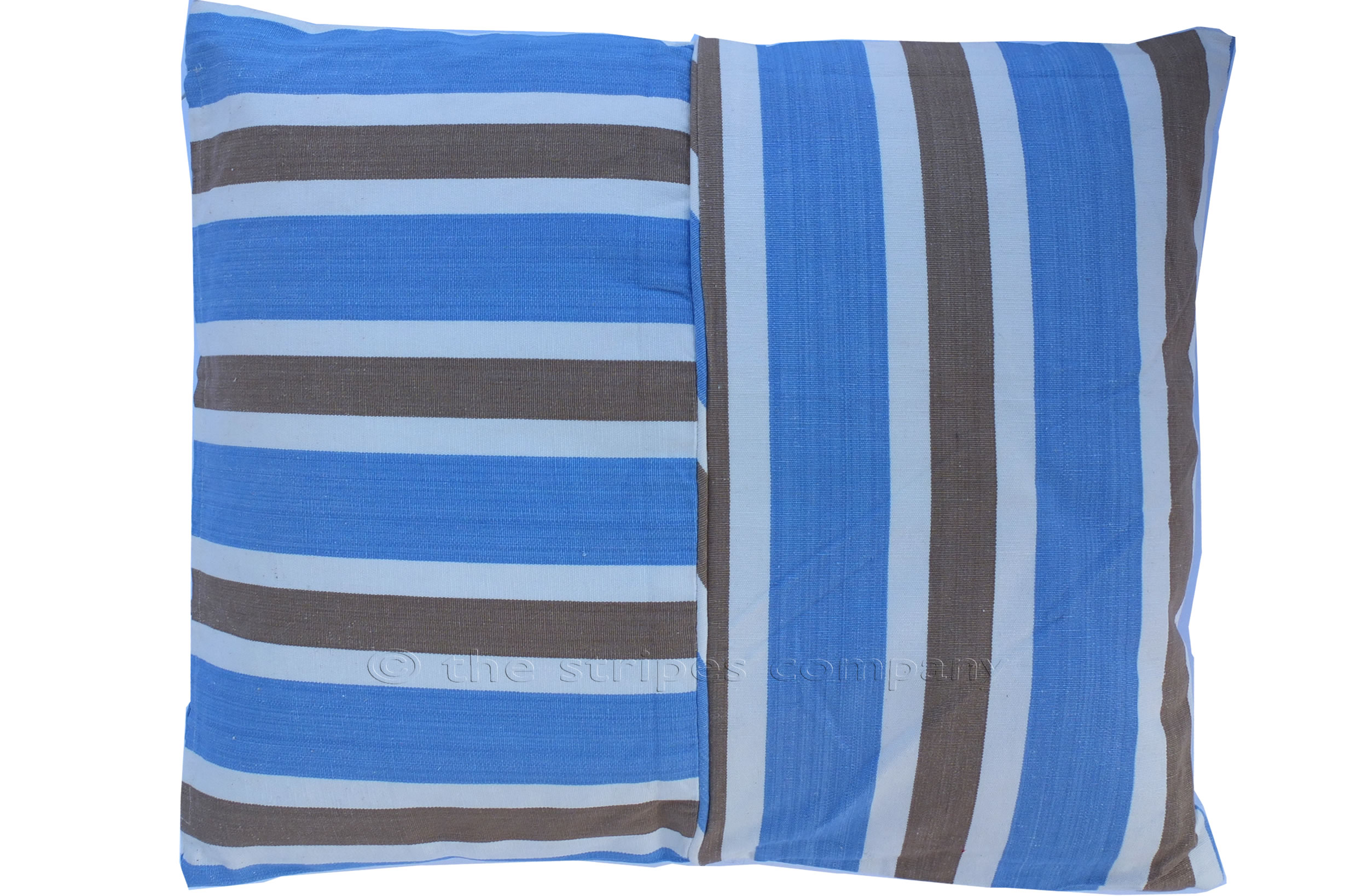 sky blue, beige, white- Striped Piped Cushions | Square Piped Cushions