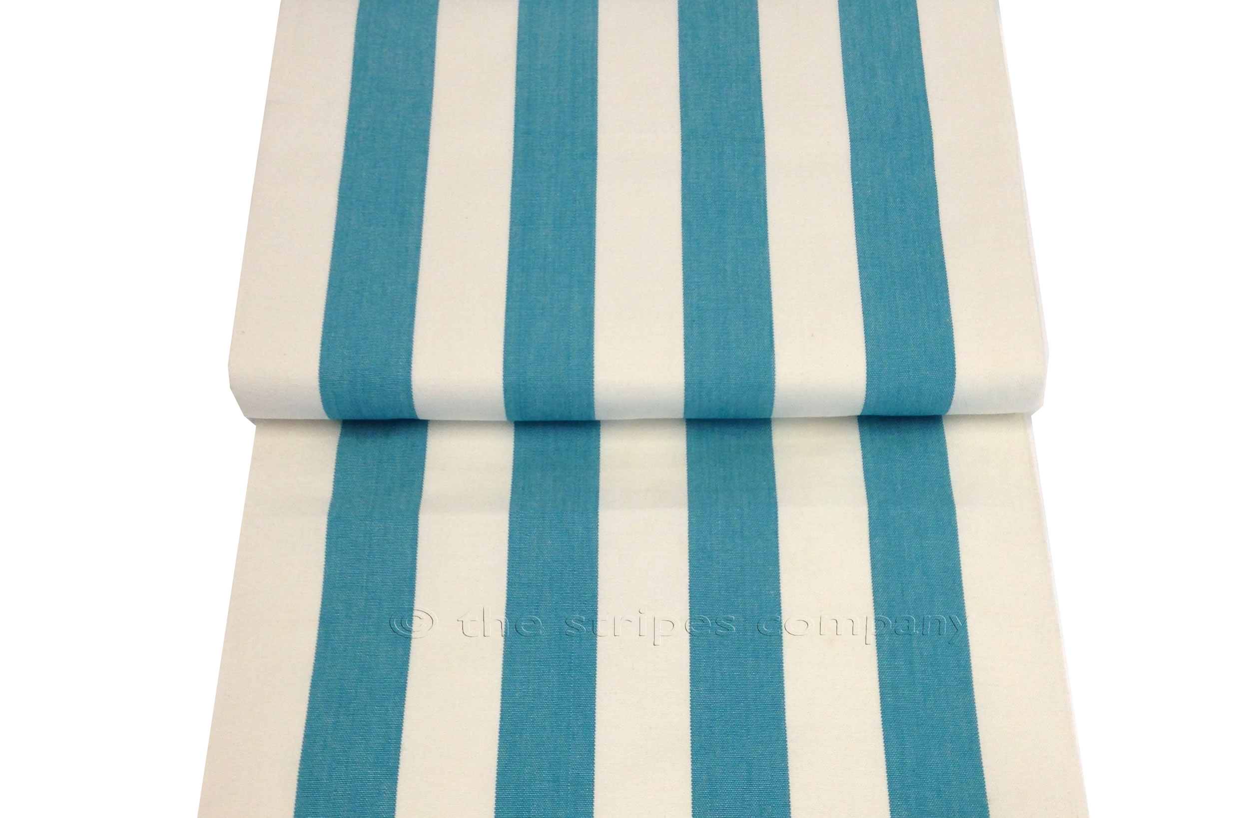 Turquoise White  Striped Deckchair Canvas Fabric