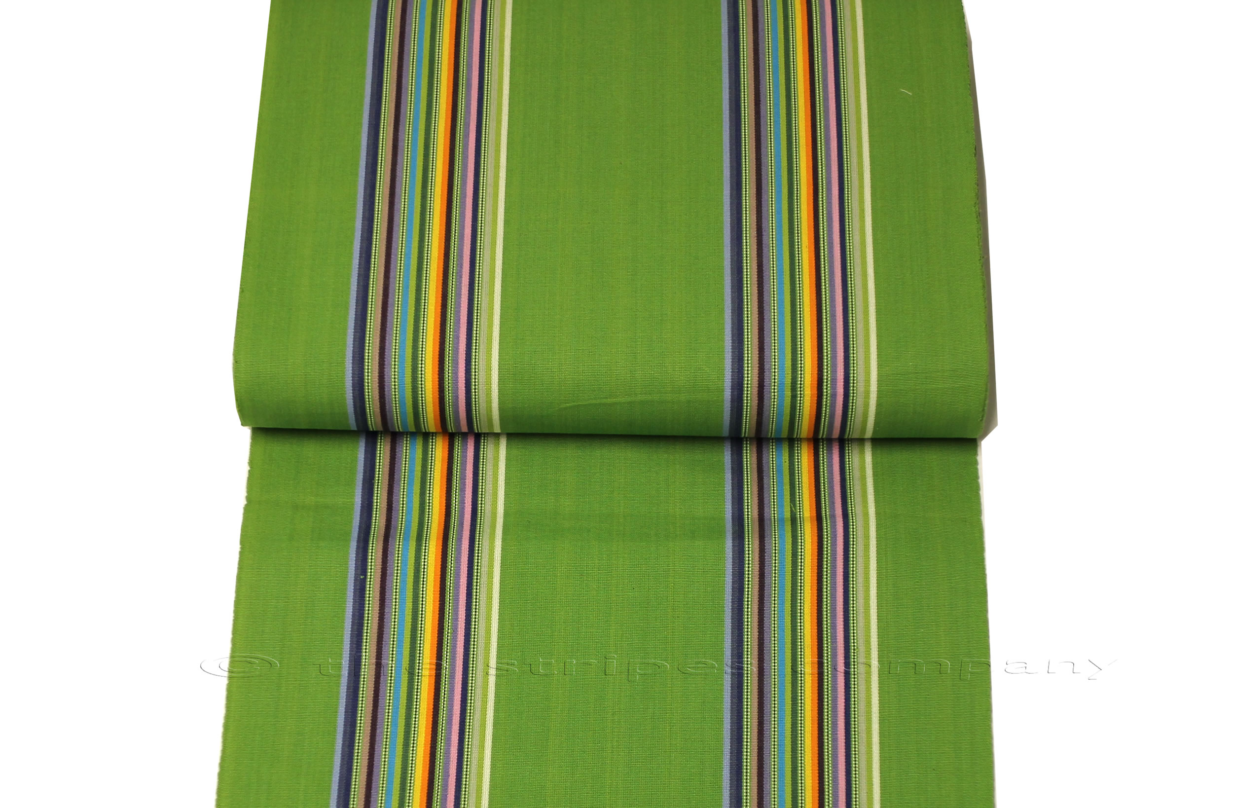 Green Striped Deckchair Canvas Fabric, Strong Weave, with Rainbow Stripes