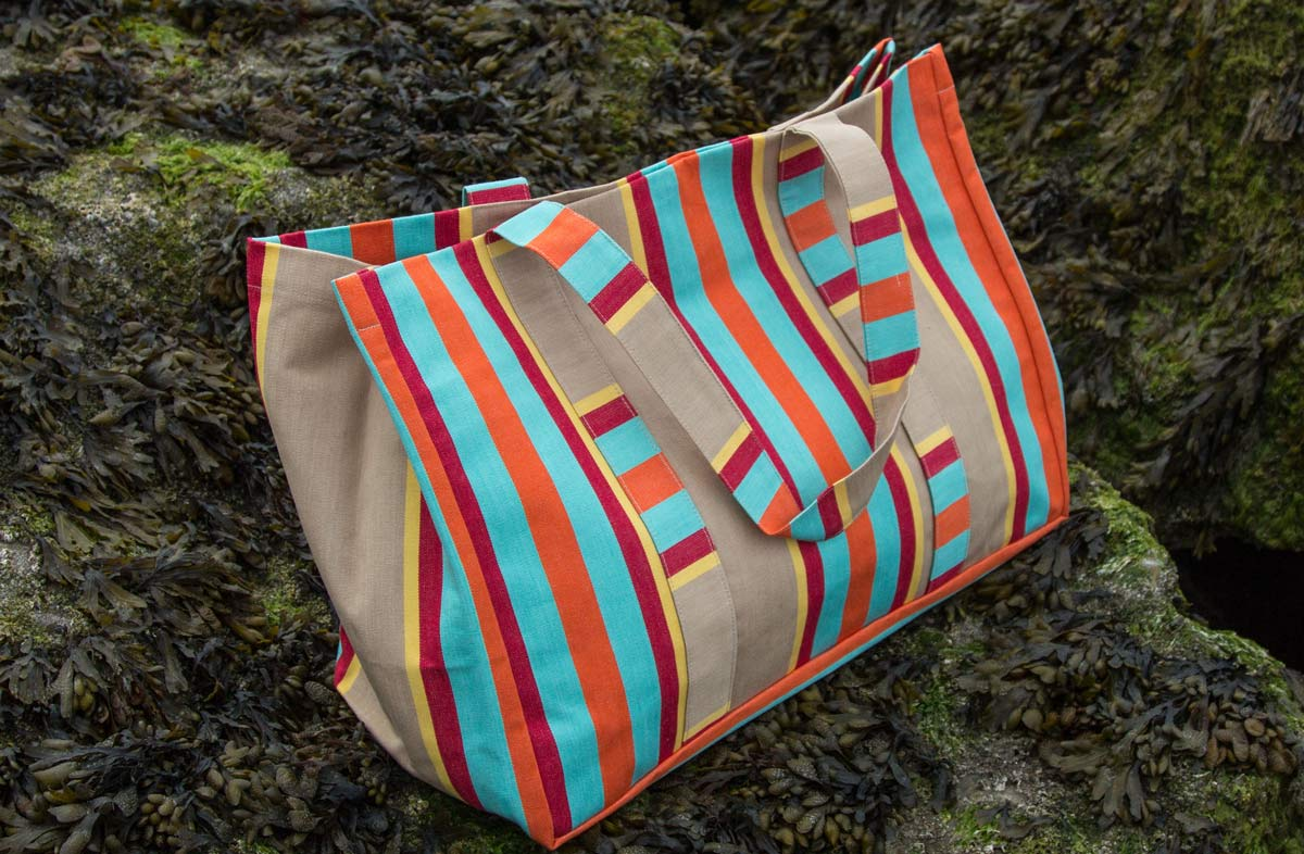 Vintage Look Extra Large Beach Bag - Fawn, Terracotta, Turquoise Stripes
