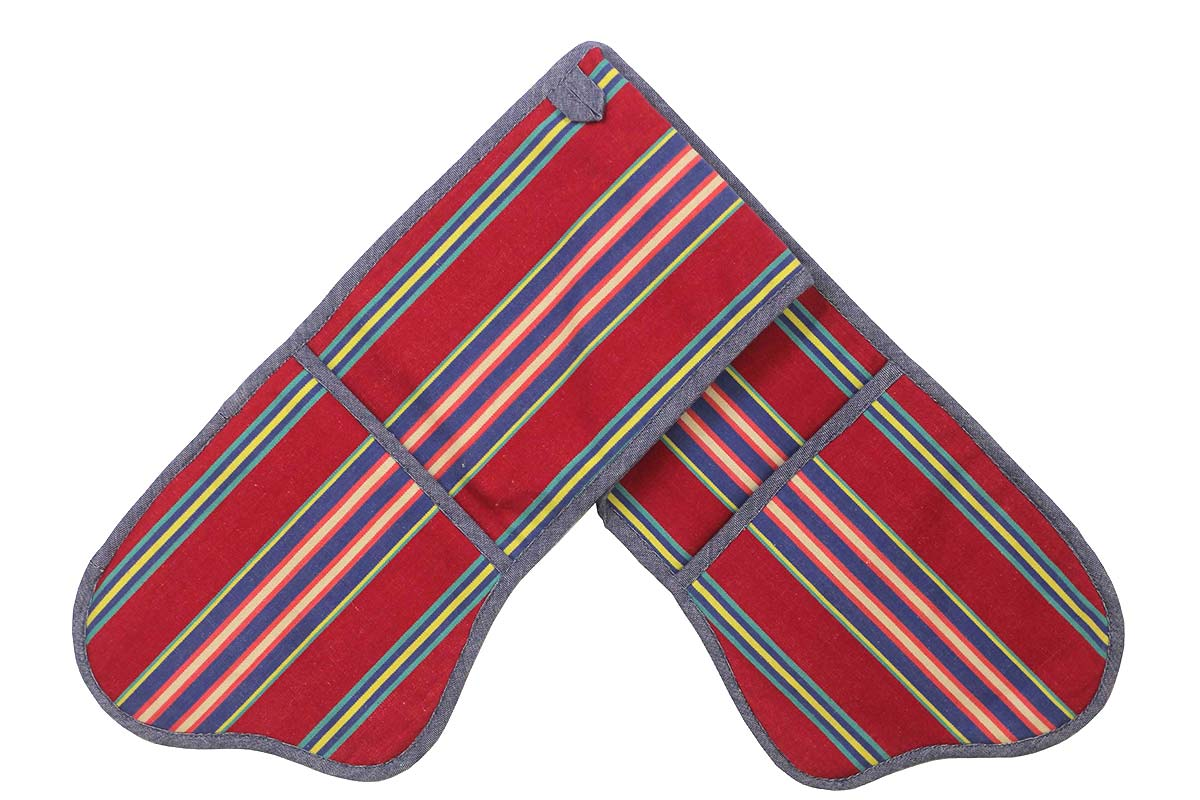 Red and Blue Striped Oven Gloves