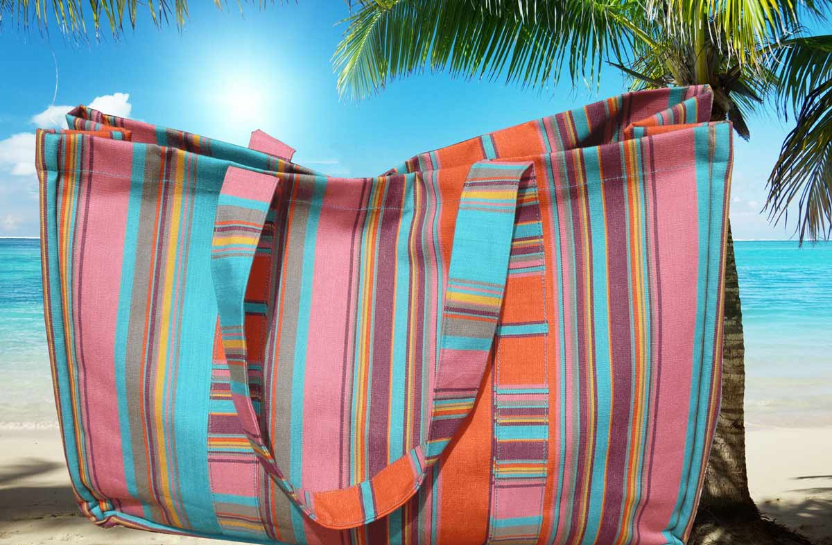 Turquoise Extra Large Beach Bags - Turquoise Stripes