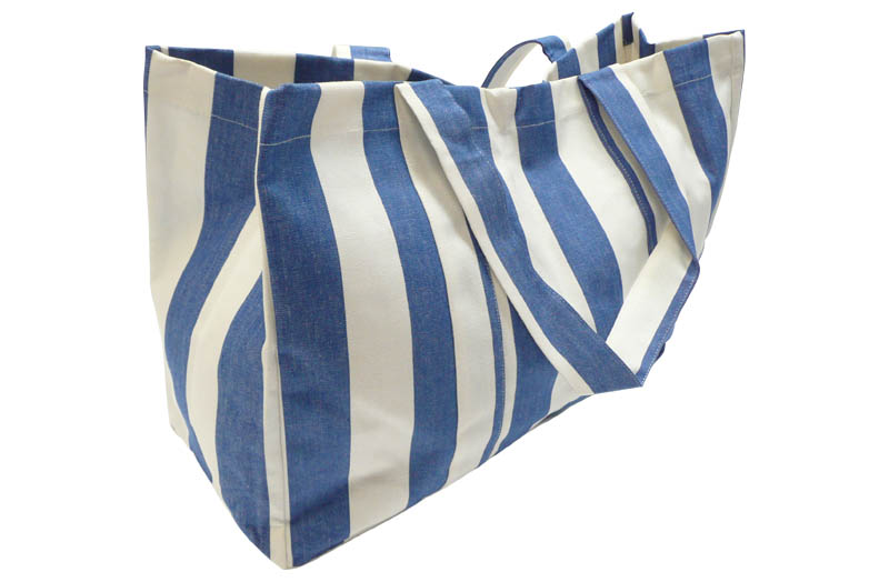 Extra Large Blue and White Beach Bag