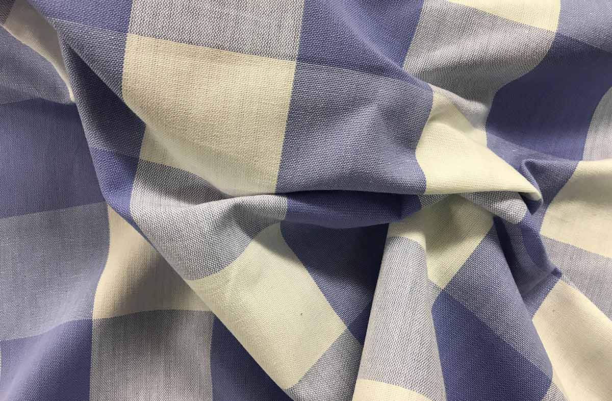 Lavender Blue and White Large Check Gingham Fabric