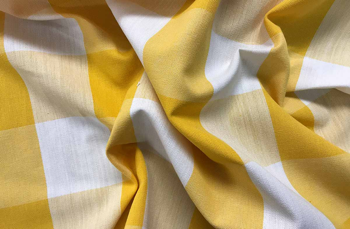 Yellow and White Gingham Large Check Fabric