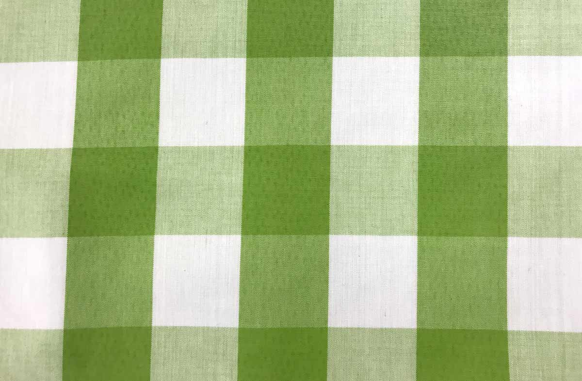 Green and White Gingham Oilcloth Fabric -Large Check