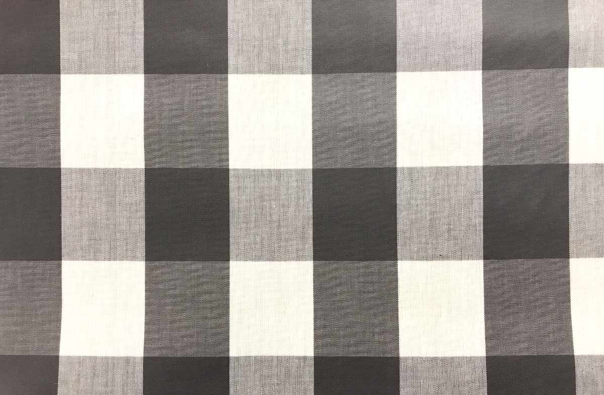 Grey and White Gingham Oilcloth Fabric Large Check